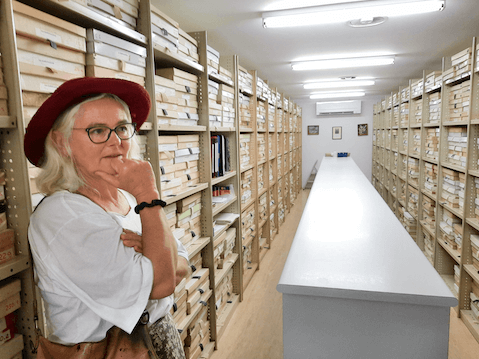 After safely delivering Macadamia jansenii to the North Coast Regional Botanic Gardens, executive officer of Australia's Macadamia Conservation Trust Denise Bond marvels at the garden's herbarium collection.